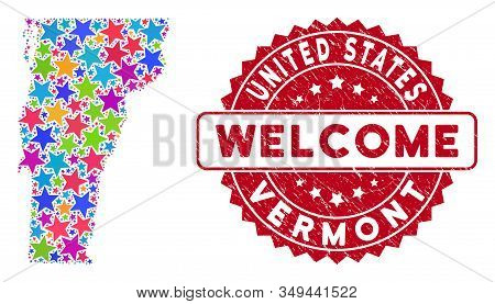 Colorful Vermont State Map Composition Of Stars, And Distress Rounded Red Welcome Seal. Abstract Ter