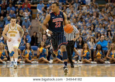 LOS ANGELES - FEB 26: Arizona Wildcats forward Derrick Williams #23 during the NCAA basketball game between the Arizona Wildcats and the UCLA Bruins on Feb 26, 2011 at Pauley Pavilion.