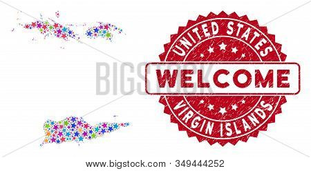 Bright Usa Virgin Islands Map Collage Of Stars, And Scratched Rounded Red Welcome Stamp. Abstract Ge