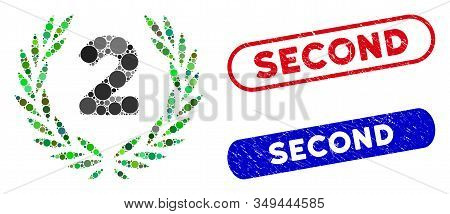 Mosaic Second Laurel Wreath And Grunge Stamp Seals With Second Phrase. Mosaic Vector Second Laurel W