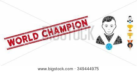 Mosaic Champion Pictogram And Red World Champion Seal Stamp Between Double Parallel Lines. Flat Vect