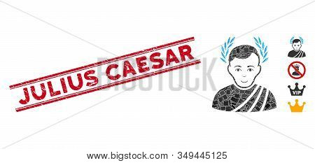 Mosaic Caesar Wreath Pictogram And Red Julius Caesar Stamp Between Double Parallel Lines. Flat Vecto