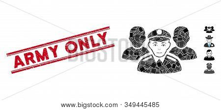 Mosaic Army Team Pictogram And Red Army Only Seal Stamp Between Double Parallel Lines. Flat Vector A