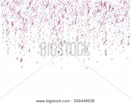 Red Flying Musical Notes Isolated On White Backdrop. Magenta Musical Notation Symphony Signs, Notes