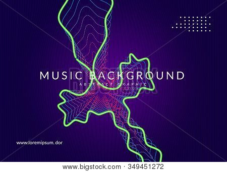 Electronic Fest. Dynamic Fluid Shape And Line. Energy Discotheque Banner Layout. Neon Electronic Fes