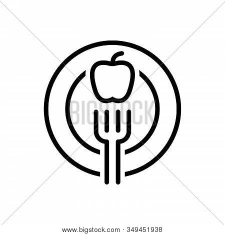 Black Line Icon For Diet Fork Apple Healthy Nutritionist Dietician Healthcare Food Breakfast