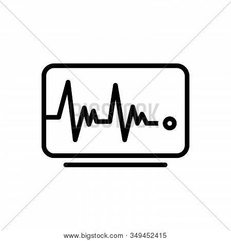 Black Line Icon For Pulse-line Pulse Line Heart-rate Cardiology Heart-rhythm Surveillance Waveform