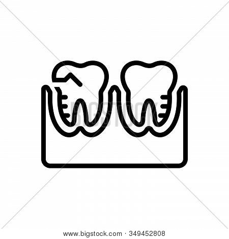 Black Line Icon For Molar-silhouette Treatment Orthodontics Prosthesis Mouth Teeth Toothache Cheekto