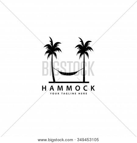 Hammock Logo Design With Outdoor Palm Trees, Hammock Silhouette Vector Symbol