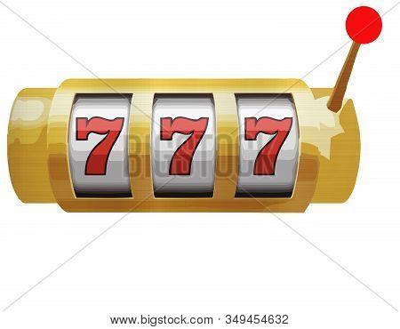 Slot Machine Canino 777 Win Prize Lucky Golden Metallic Illustration