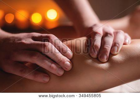 Premium Male Luxury Shin Massage Anti-cellulite Wellness Complex. Close-up Of A Male Masseur Doing L