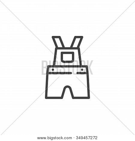 Baby Overalls Line Icon. Linear Style Sign For Mobile Concept And Web Design. Kids Clothes, Overall