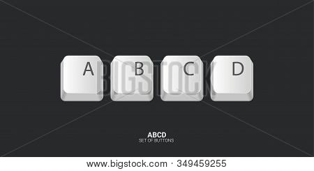 Abcd. Keyboard Buttons On White Background. Vector Illustration.