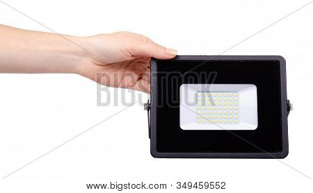 Led Floodlight, Outdoor Light Equipment. Isolated On White.