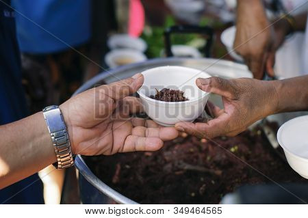 The Hand Of The Beggars Receives Charity Food From Fellow Human Beings : The Concept Of Humanitarian