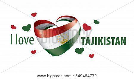 National Flag Of The Tajikistan In The Shape Of A Heart And The Inscription I Love Tajikistan. Vecto
