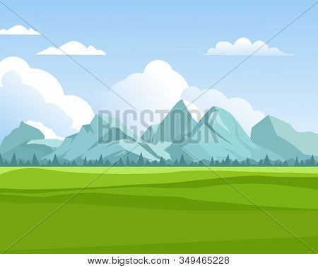 Mountains Background. Outdoor Green Meadows With Hills Rocks For Travellers In Summer Season Eco Nat