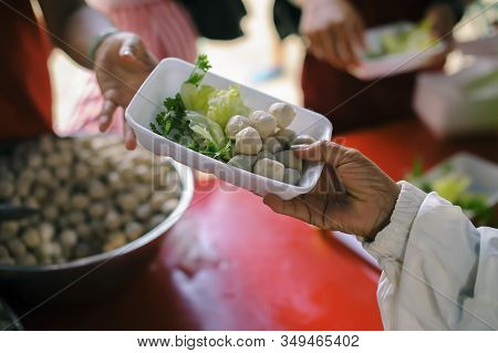 Homeless People Are Helped With Food Relief, Famine Relief : Volunteers Giving Food To Poor People I