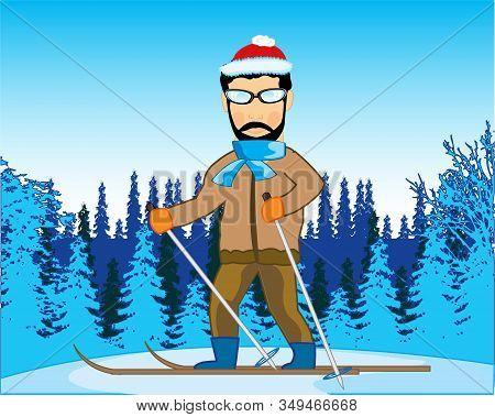 Man Runs On Ski In Wood In Winter