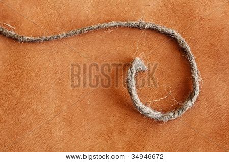 old weathered leather  background with string stock photo image