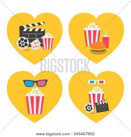 Pop Corn Icon Heart Set. Movie Reel. 3d Glasses. Open Clapper Board Popcorn Box Package Ticket Admit