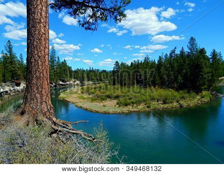 Big Bad Don - View Of The Deschutes River From The Don Mcgregor Viewpoint In La Pine State Park - Ne