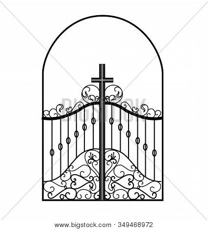 Gates Forged Sketch. Artistic Forging. Iron Door Design. Vector Illustration Isolated On White Backg