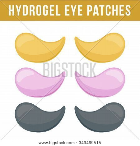 Set Of Hydrogel Eye Patches. Cosmetic Collagen Eye Patches. Eye Patches For Beauty And Skin Care. Ve