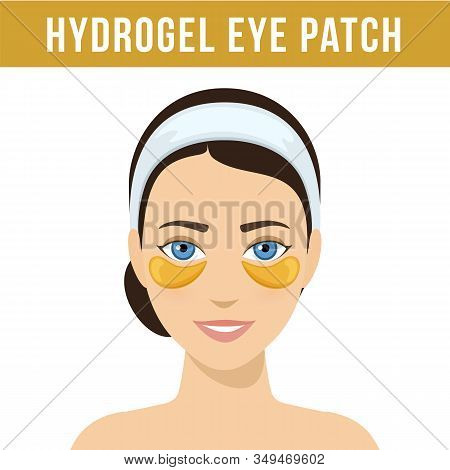 Golden Hydrogel Eye Patches. Cosmetic Collagen Eye Patches. Eye Patches For Beauty And Skin Care. Ve