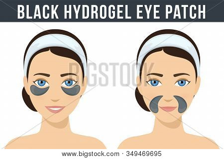 Black Hydrogel Eye Patches. Cosmetic Collagen Eye Patches Against Facial Wrinkles. Eye Patches For B