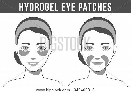 Black And White Illustration Of Hydrogel Eye Patches. Cosmetic Collagen Eye Patches Against Facial W