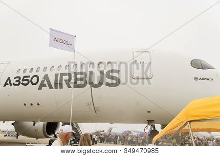 Zhukovsky, Moscow Region, Russia - August 31, 2019: Aclose Up Of Airbus 250 Fuselage On Maks2020 Air