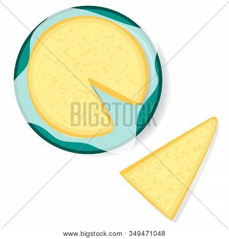 Parmesan Cheese Set Isolated On White. Vector Illustration Background