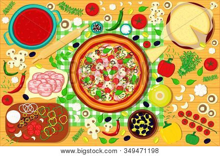 Baked Pizza With Ingredients On The Wooden Table. Top View. Vector Illustration Background.