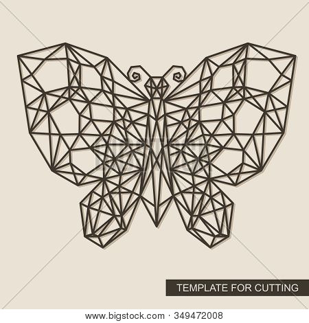 Butterfly With A Geometric Pattern. Polygonal Wireframe Vector Illustration. Framework Made Of Cardb