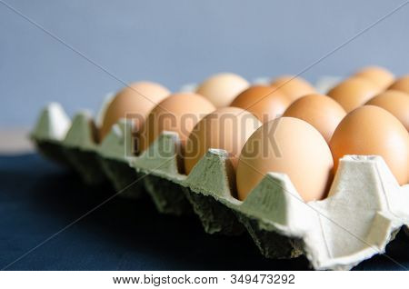 Close Up Group Egg In Box.raw Food Concept.