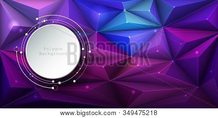 Illustration Abstract 3d Paper Circle With Molecules, Lines, Geometric, Polygon, Triangle Pattern. V