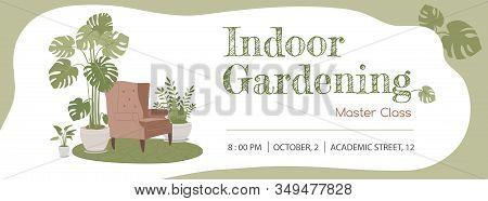 Indoor Gardening Masterclass Horizontal Advertisement Banner Template. Calming Interior In Modern Ci