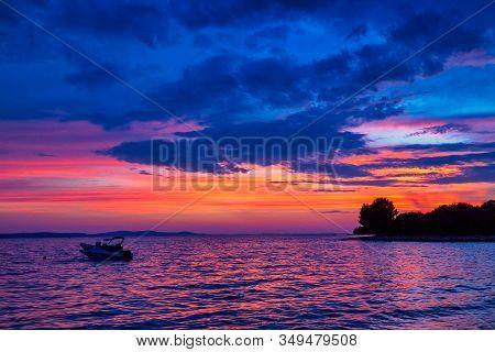 Colorful Twilight On The Adriatic Sea At Kozino Village Near Zadar Town In Croatia, Europe.