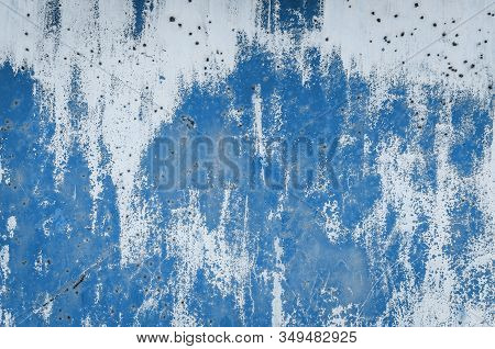 Old Blue Worn Metal Surface With Paint Background. Abstract Corroded Colorful Rusty Metal Background