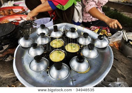 Dessert Mortar Market Pan Cooking Thailand