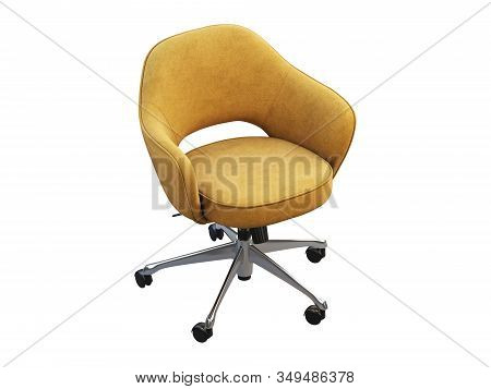 Orange Fabric Task Armchair With Chromium Base. 3D Render