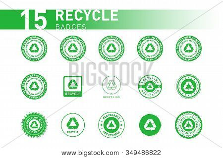 Collection Of Recycling Sign Green Round Line Sticker With Mobius Strip, Band Or Loop. Design Elemen