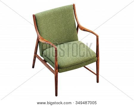 Green Fabric Chair With Wooden Legs. 3D Render