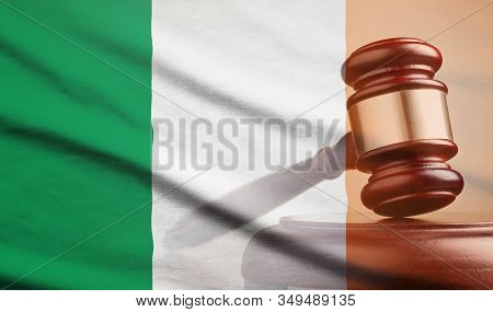 Legal Gavel Over A Flag Of The Ireland