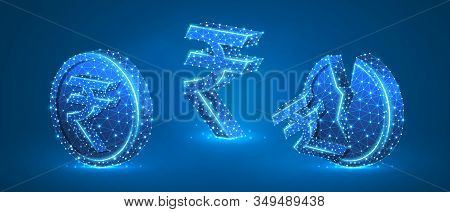 Set Of Rupee Coins With Symbols. Low Poly, Wireframe, Digital 3d Vector Illustration. Abstract Polyg