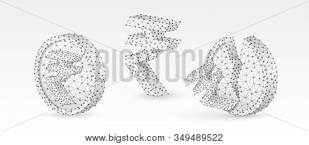 Set Of Rupee Coins With Symbols. Abstract Polygonal Indian Money Growth And Downtrend Concept, Image