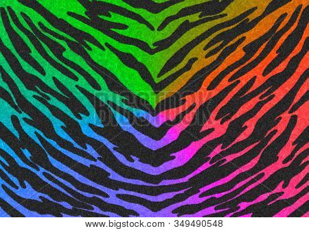 The Black-rainbow Gradient Tiger Print Camouflage Texture, Carpet Animal Skin Patterns Or Background