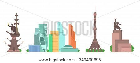 Sights Of Moscow Vector Illustration Set. Moscow Architecture Historical Famous Beautiful Buildings.