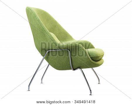 Mid-century Light Green Fabric Chair With Chromium Legs. 3D Render.